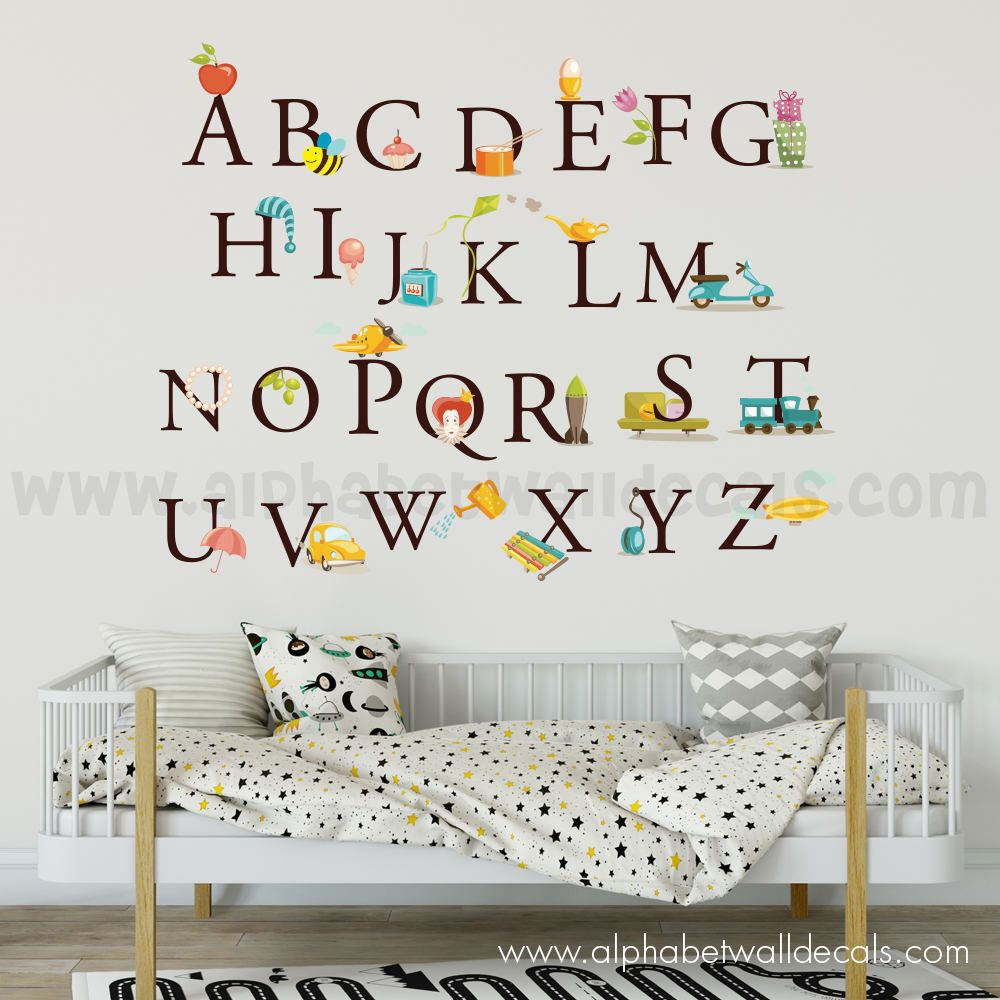 Nice Alphabet Wall Decal   Nursery Wall Decal   Playroom Wall Decal    Educational Wall Decal   Play Room Wall Decal   Custom Decal   01 0002