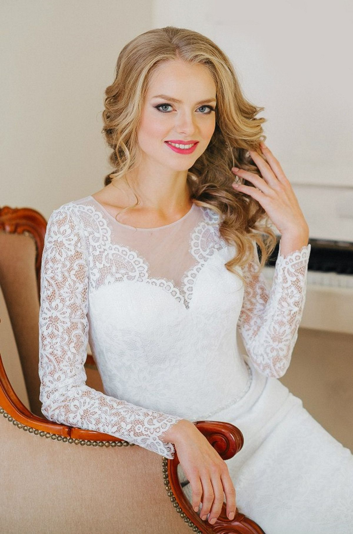 Alice in wonderland themed wedding dress  Dresses  Vintage Long Sleeved Lace Aline Long Wedding Dress   My