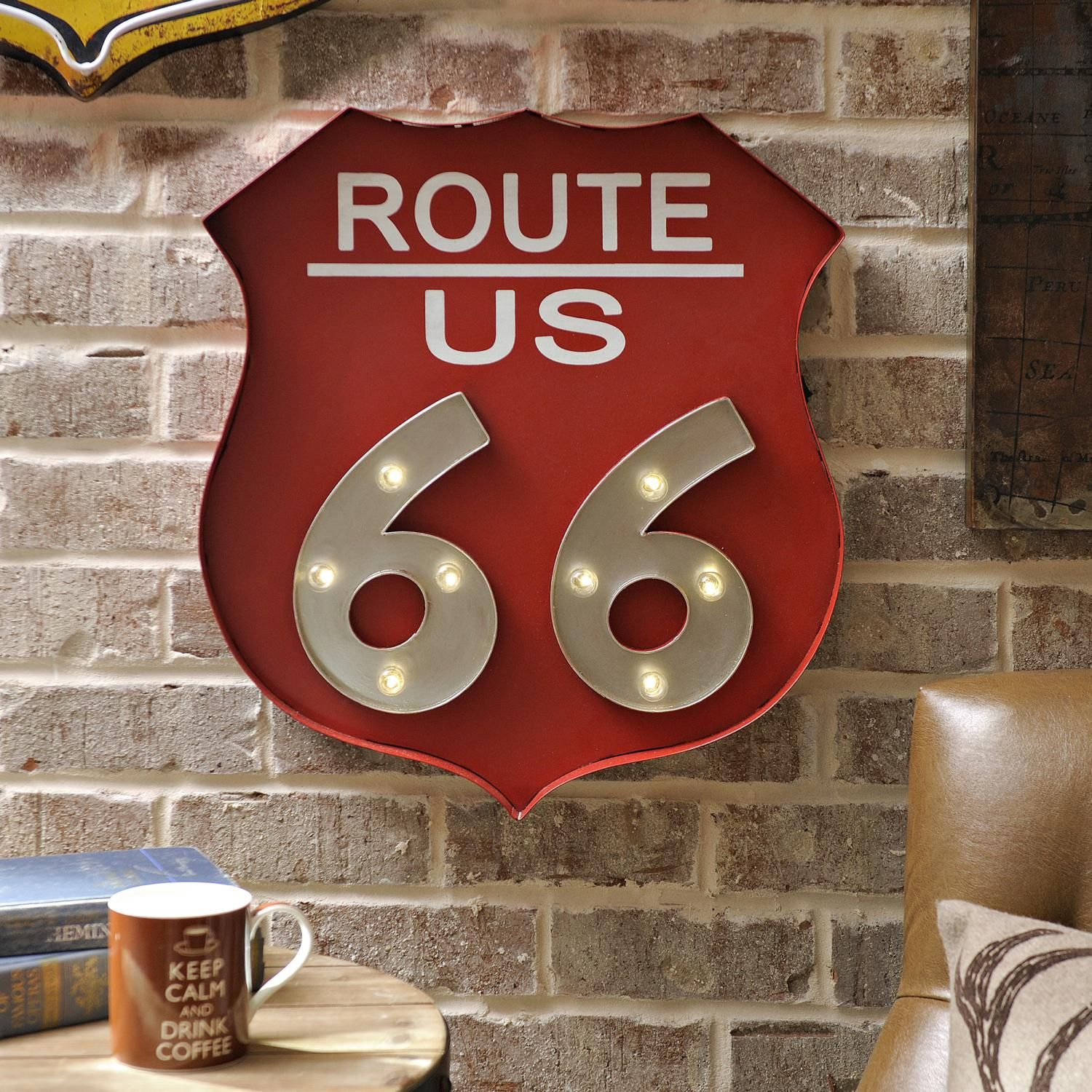 Red LED Route 66 Metal Plaque & Red LED Route 66 Metal Plaque | Metal plaque Route 66 and Wall decor