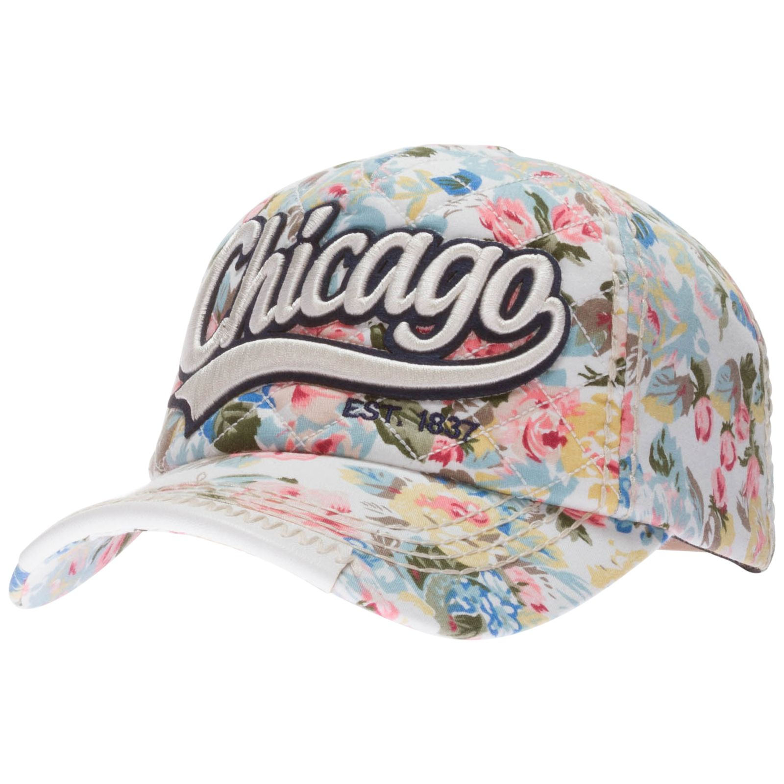 Chicago White Floral Pattern Adjustable Hat by Robin Ruth  Chicago  ChiTown   WindyCity bd4203f6c4b6