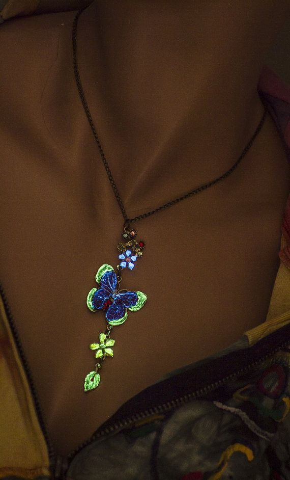 Glow in the dark necklace glowing necklace butterfly best friend glow in the dark necklace glowing necklace butterfly best friend gift girlfriend gift easter gift boho teen gift flover teen jewelry negle