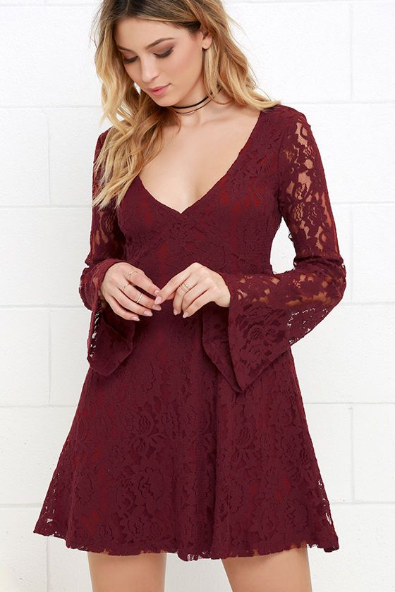 Others Follow Lace Is More Wine Red Lace Dress
