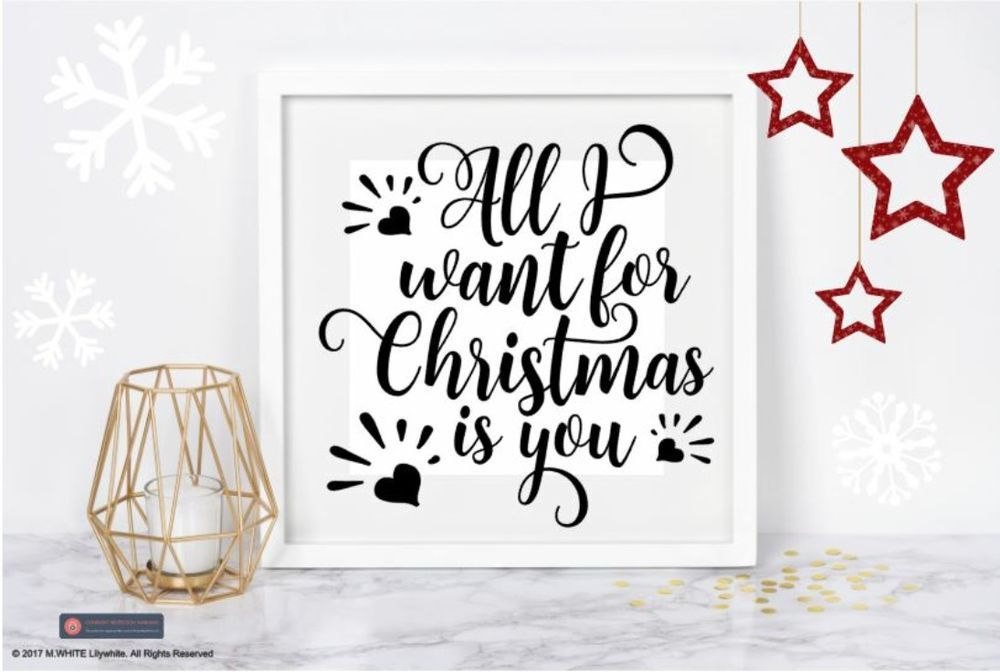 All i want for christmas is you vinyl sticker for ikea hobby craft box frame