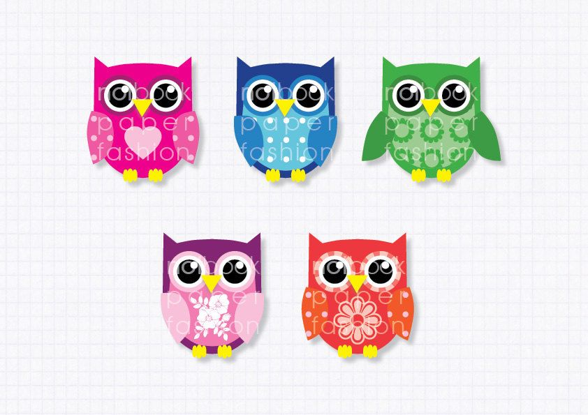 clipart digital clip art owls, for Scrapbooking Cards Stationery Paper. $3.00, via Etsy.
