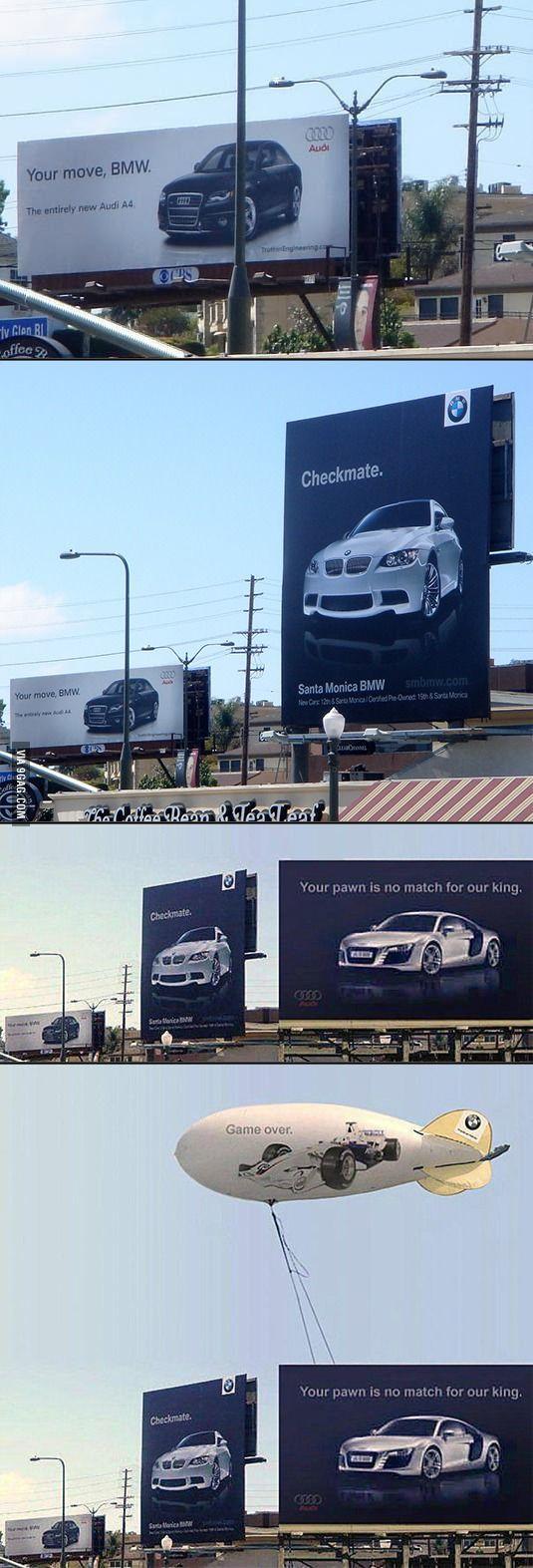 Daring Advertisement Audi Vs Bmw Graphics Pinterest Back Gt Gallery For Chess Checkmate Diagram Amusing Billboard Battle Between And Guerrilla Marketing Design