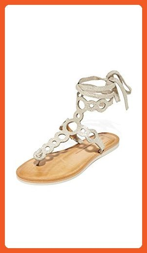 Alice + Olivia Shayla Patent Wedge Sandals in Beige (NUDE