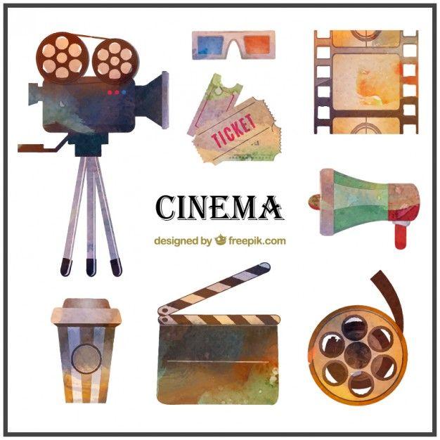 Aquarela Material De Cinema Pacote Cinema Party Cinema Watercolor