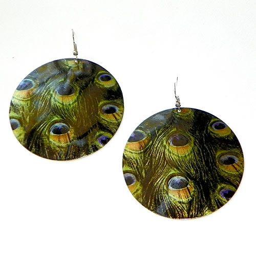 multi peacock disc earrings
