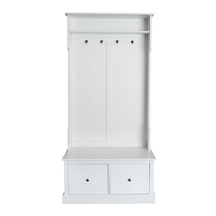 White Wood Hall Tree Two Drawer And Shelf