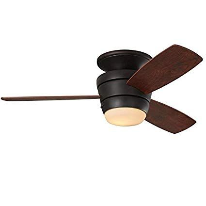 Mazon 44 In Oil Rubbed Bronze Integrated Led Indoor Flush Mount Ceiling Fan With Light Kit And