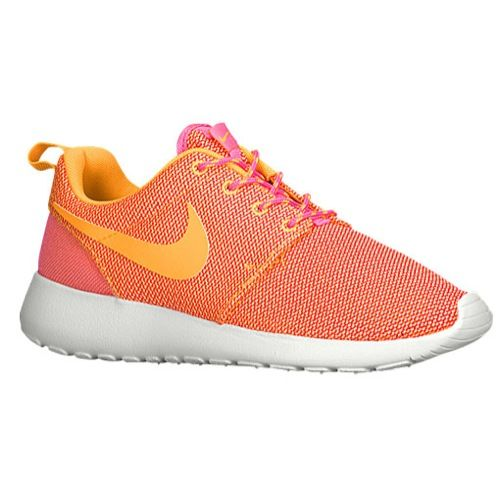 Hot Sale Nike Roshe Run Womens Pink Glow/Summit White/Volt/Atomic Mango Shoes OnlineNewest