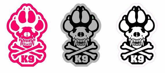 K9 life skull crossbones sticker pink gray black