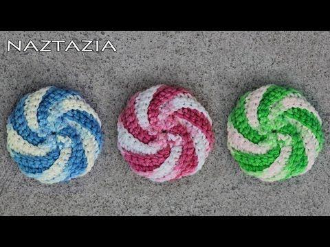 Aprender a Crochet - Espiral Scrubbie Tutorial (Paño de cocina ...