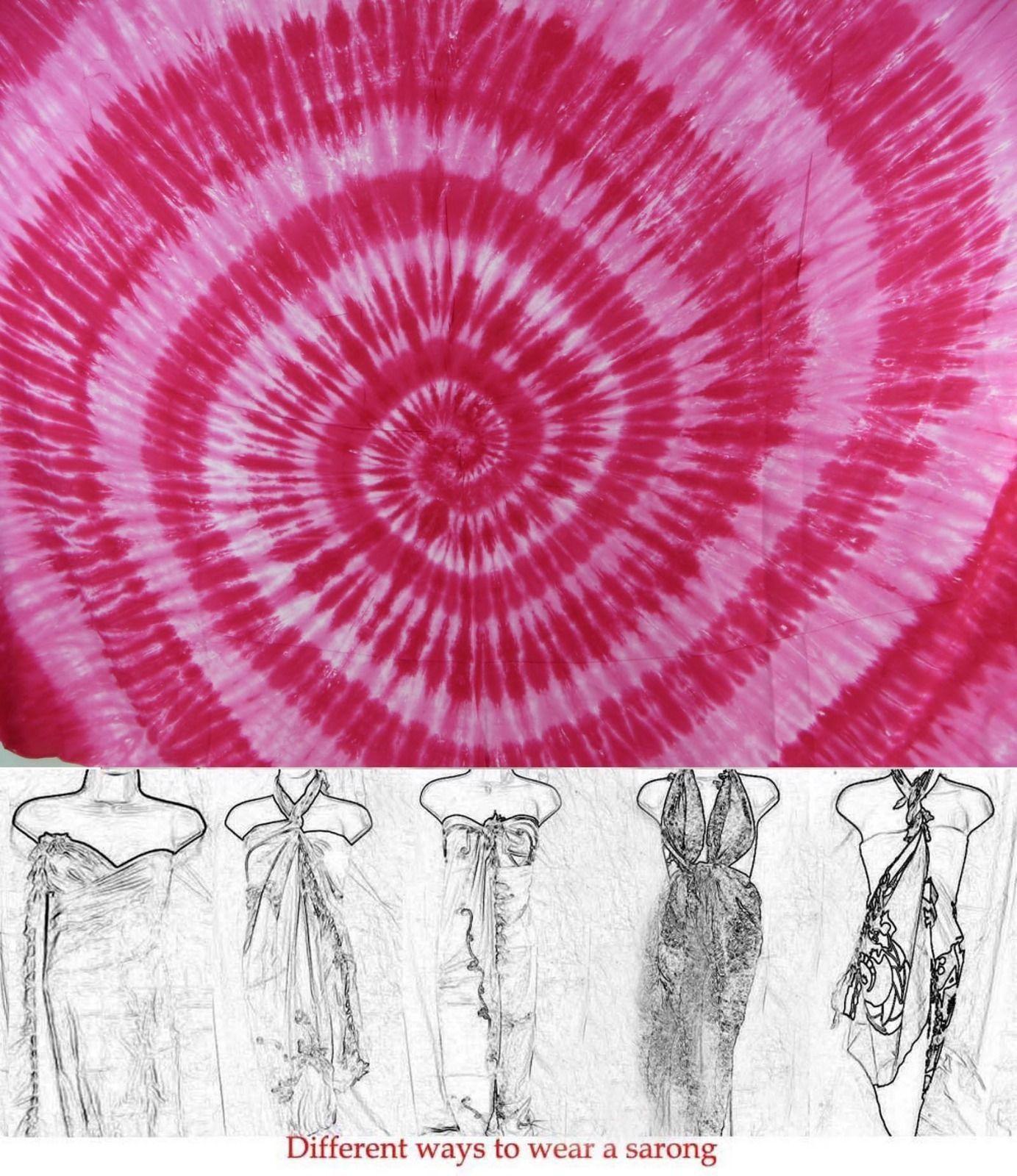 Sarong Sarung Sarong Dress Pink Swirl Tie Dye Sarong Unisex Pareo ...