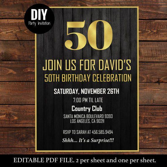 Printable Black Gold 50th Male Birthday By DIYPartyInvitation Blackandgold Manbirthday 50thinvitations