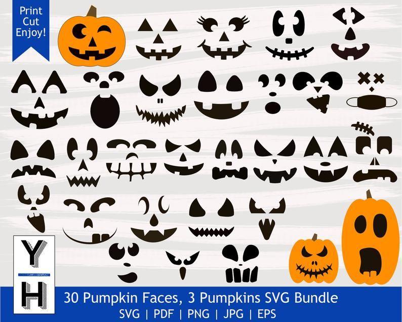 30 Pumpkin Face Svg Bundle Cute Jack O Lantern Png Bundle Etsy Pumpkin Faces Jack O Lantern Faces Face Stencils