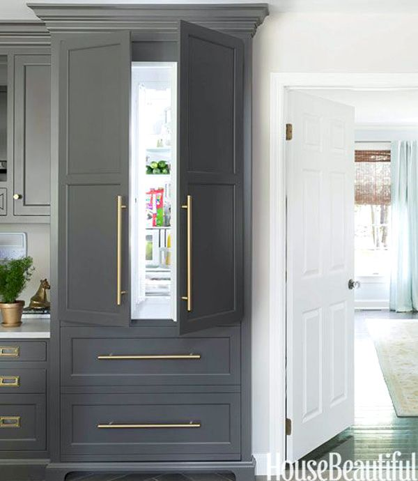 GRAY BLUE KITCHEN CABINETS Concealed Kitchen Refrigerator In Traditional Cabinetry With Brass Hardware