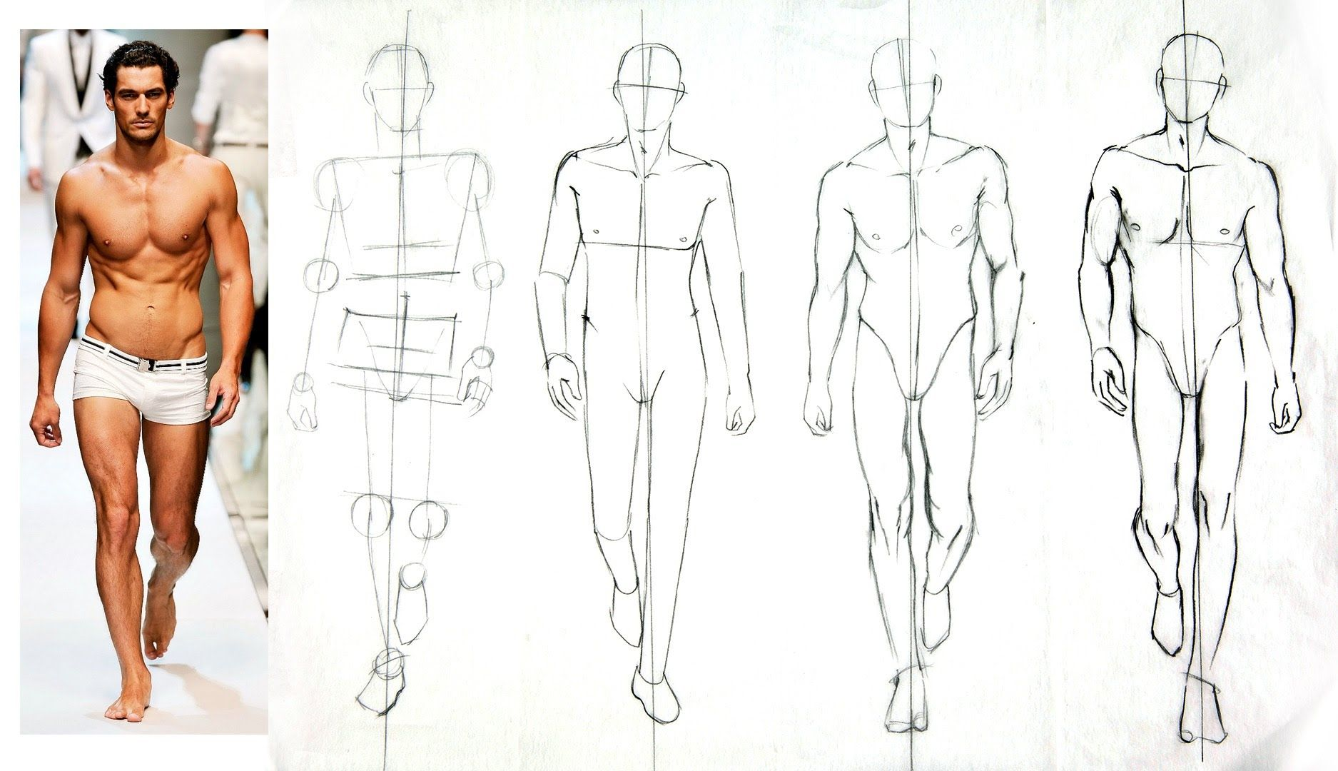 Male Fashion Figures Steps 1 And 2 Of 4 Figuring Out The Pose Proportions Fashion Figures Fashion Drawing Tutorial Fashion Design Sketches