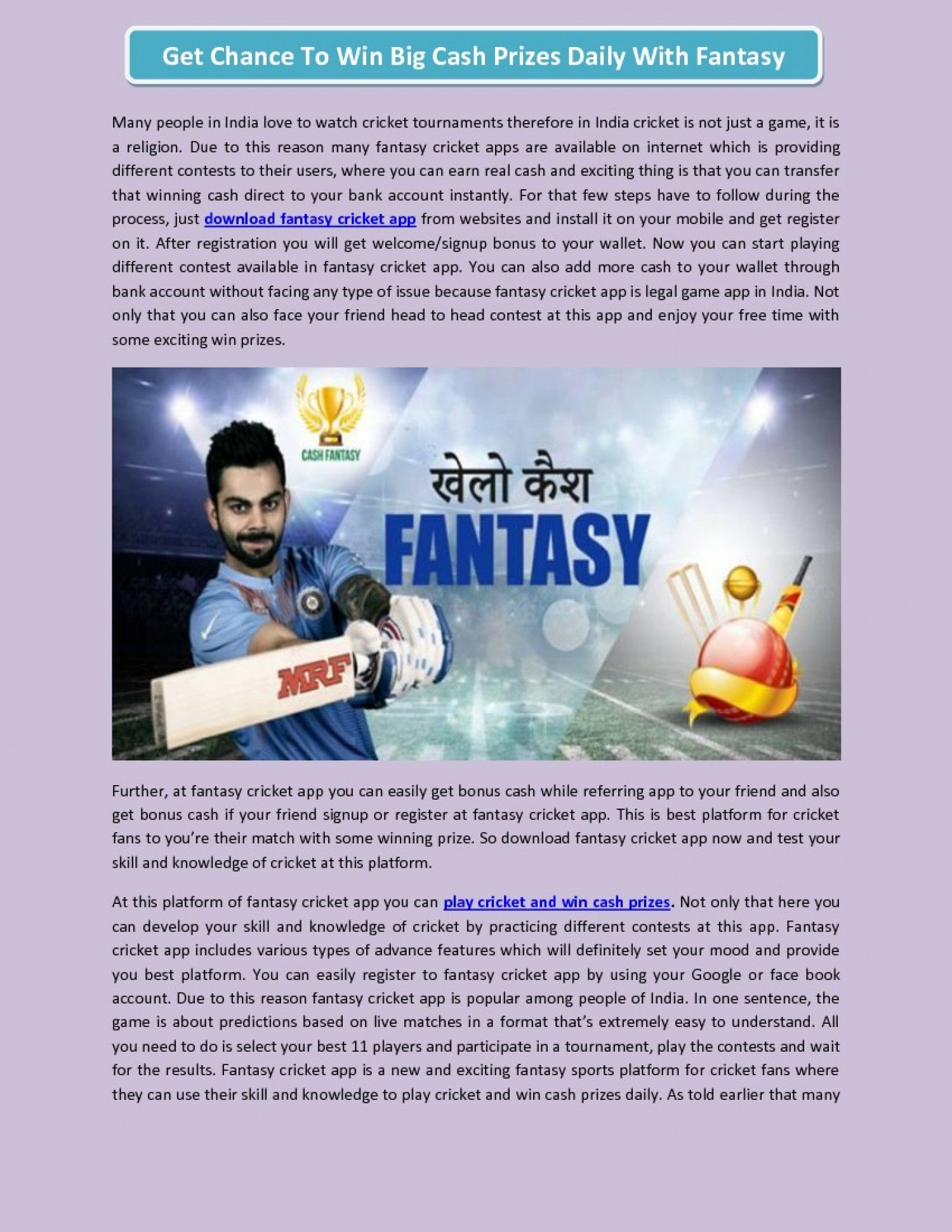 Pin by Cash Fantasy on fantasy cricket app Cash prize