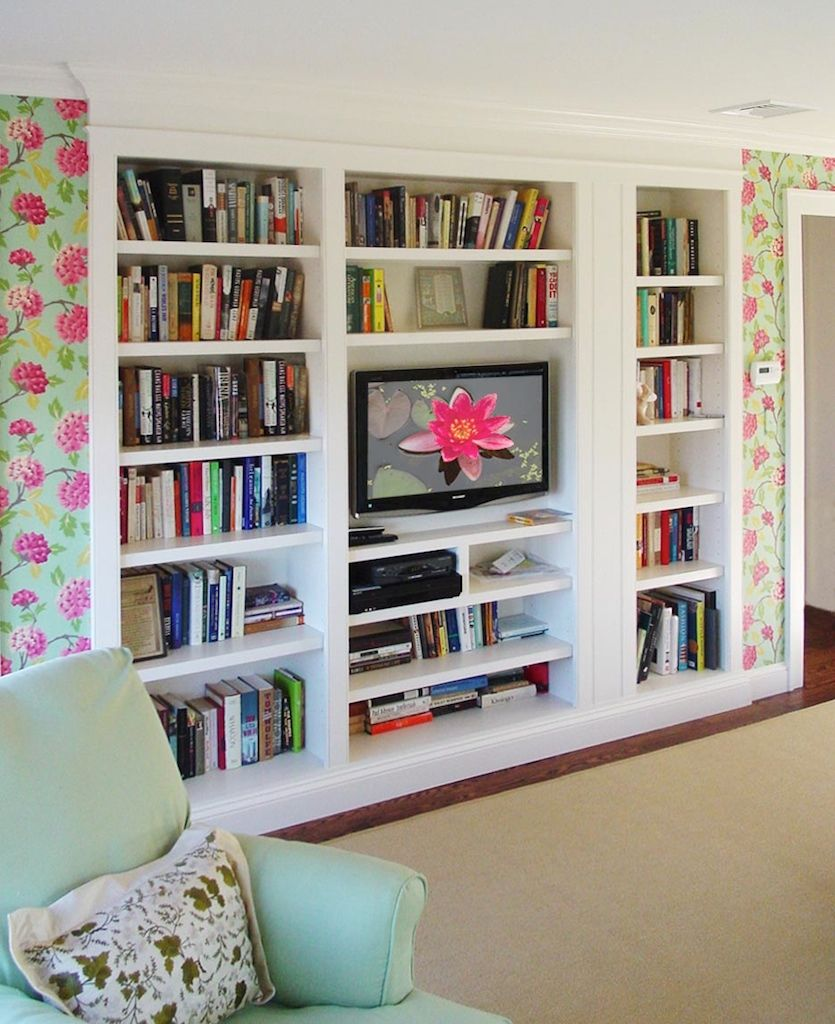built in bookshelves design ideas, white built in contemporary home office design  ideas, built in home office desk ideas, tv cabinet bookcase design ideas ...