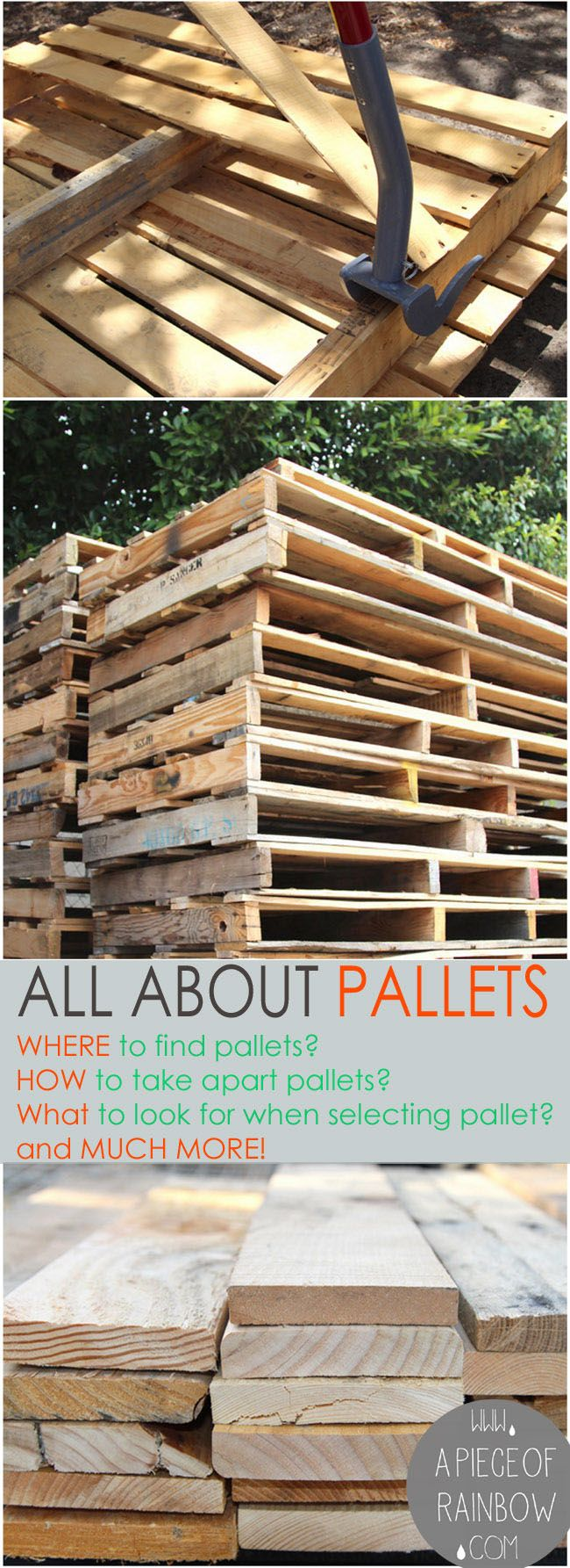 Loads of tips All About Pallets! - Where to find pallets, how to select & take apart pallets, working with pallets, and pallet project ideas! #diypalletfurniture