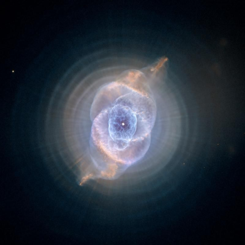 The Cat's Eye Nebula, one of the first planetary nebulae discovered, also has one of the most complex forms known to this kind of nebula. Eleven rings, or shells, of gas make up the Cat's Eye.