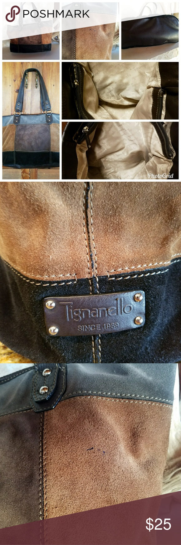 Tignanello tote Black/Brown/Gray/Camel suede tote.  Very roomy. Center zip section with pockets on either side. Gently used except for minor speck as seen in close-up. Tignanello Bags Totes