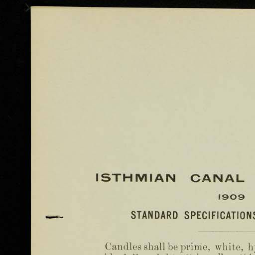Panama Canal: specifications for suppliers of candles to the I.C.C.