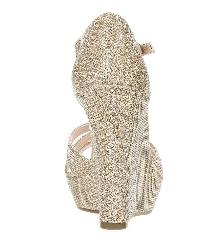 98277b10f01 DeBlossom Womens Dressy Glitter Rhinestone T Strap Platform Wedge Sandal  Aalle-2   Click image