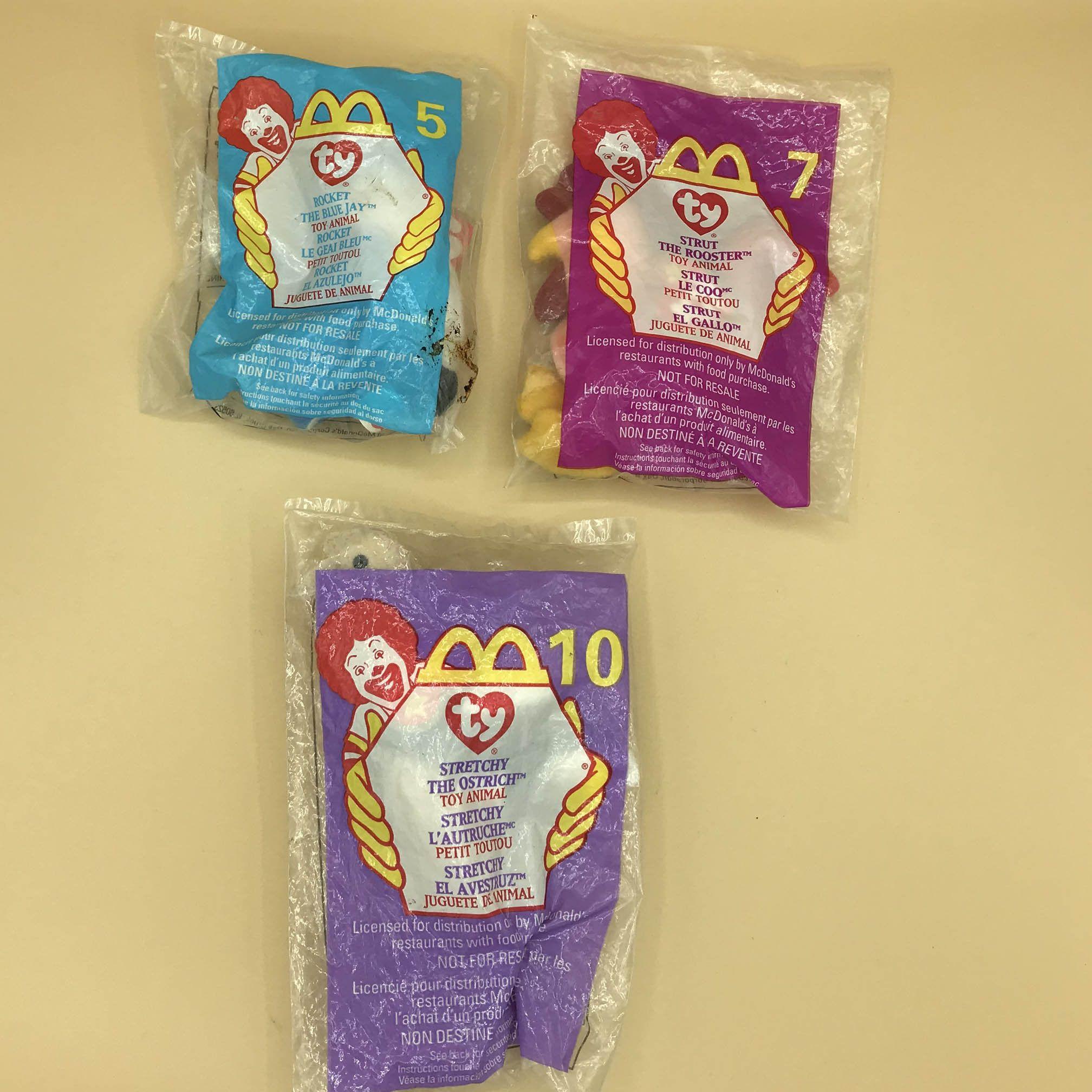 """Rocket The Blue Jay"" McDonalds 1999 ty Teenie Beanie Baby #5 New in Package"