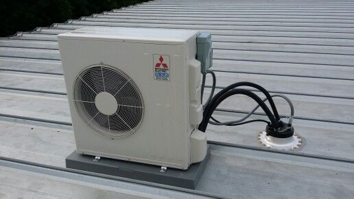 Mitsubishi condenser installed on commercial building