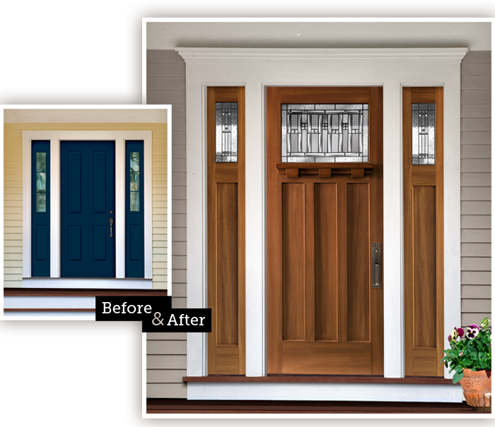 Before and After, Masonite Craftsman fiberglass door | Exterior ...