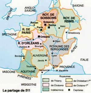 Carte Du Royaume Franc Lors Du Partage De 511 Cartographie