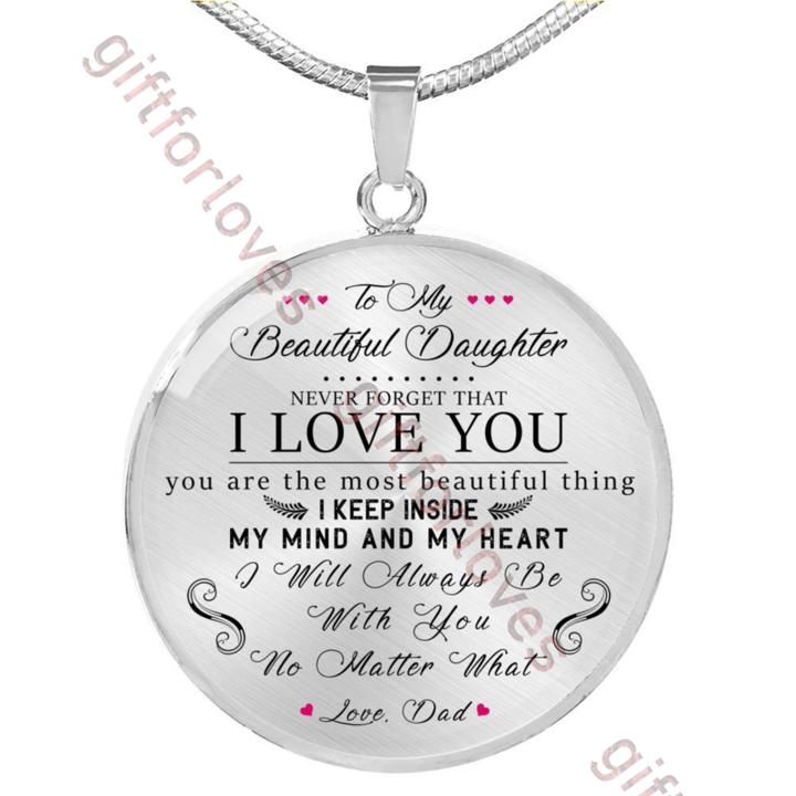 Luxury to My Daughter Heart Necklace Pendant/Necklaces/for/Teen/Girls You are The Most Beautiful Gift in My Life Great Gift for Your Kids