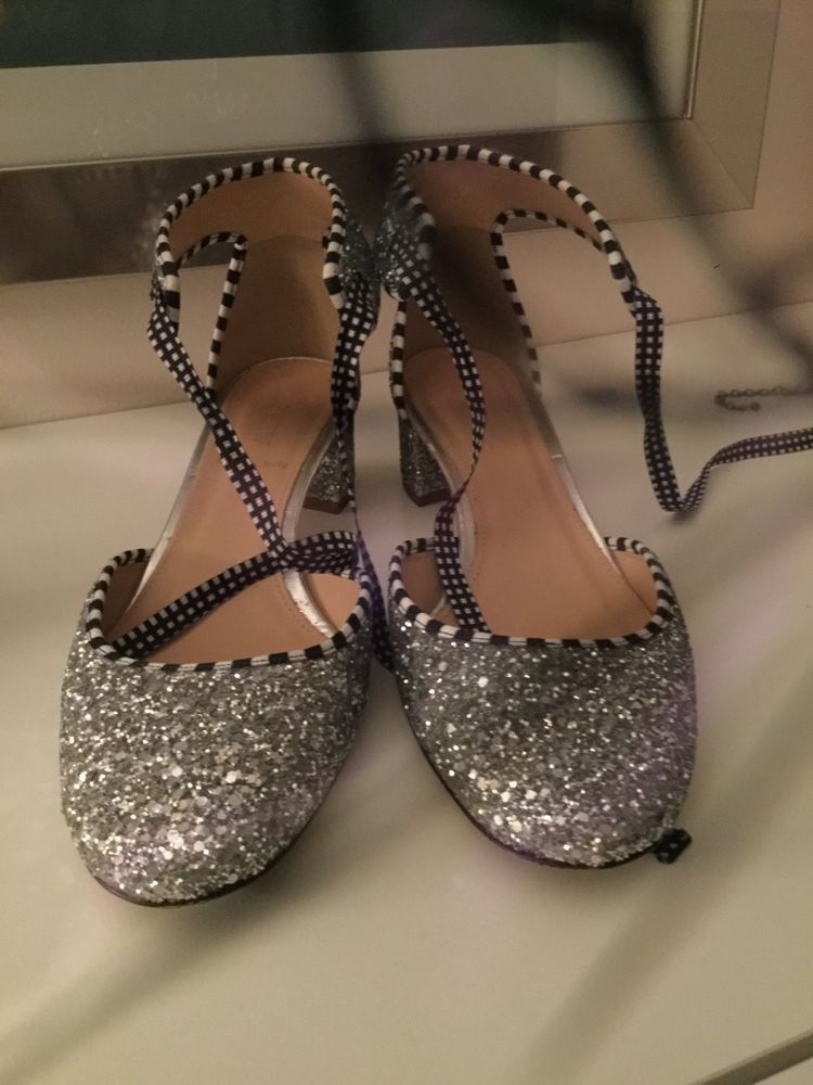 5cee2292d94 jcrew silver glitter shoes size 8 ankle ties. Small heel  fashion  clothing