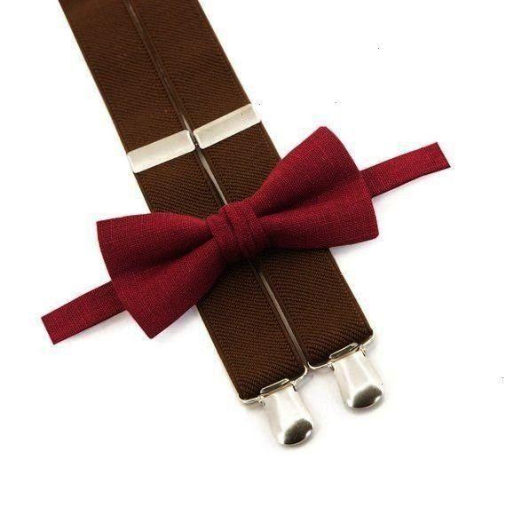 Bow Tie  Brown Suspenders Rustic Wedding Groomsmen Ties Mens Burgundy Bow Tie  Brown Suspenders Rustic Wedding Groomsmen Ties Mens Burgundy Bow Tie  Brown Suspenders Rust...