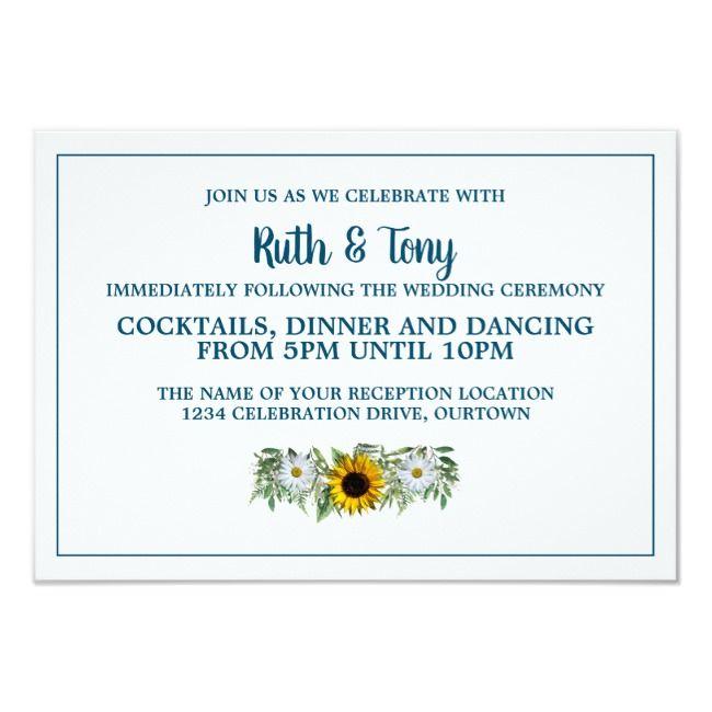 Rustic Navy Blue SunflowerDaisy Wedding Reception