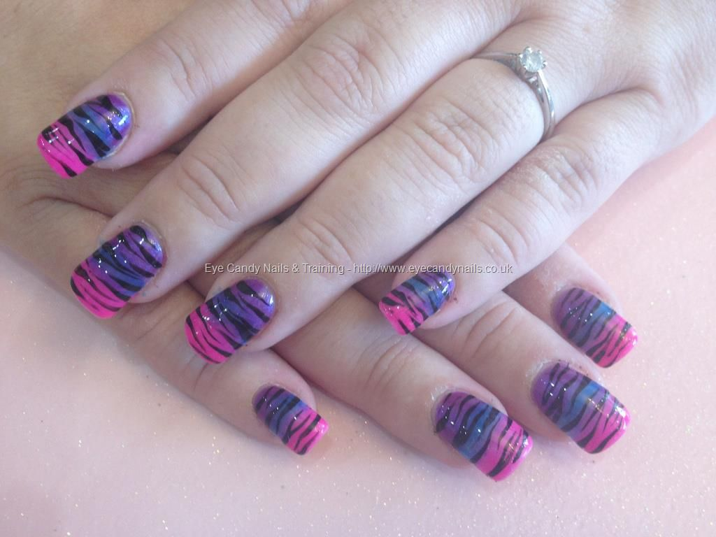 Acrylic nails with pink blue and purple fade with zebra print | Nail ...