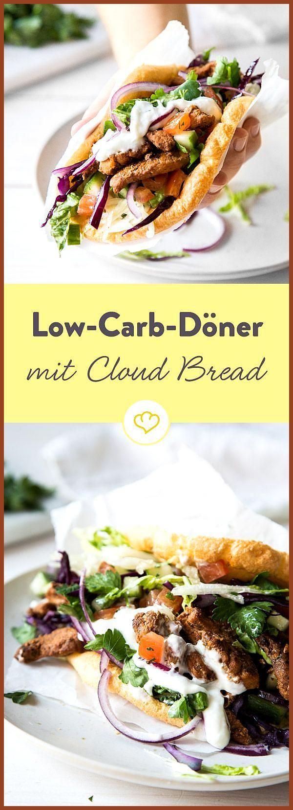 Low Carb Döner auf die Faust? Dank luftigem Cloud Bread aus Ei und Frischkäse … #auf #aus #Bread #Ca...