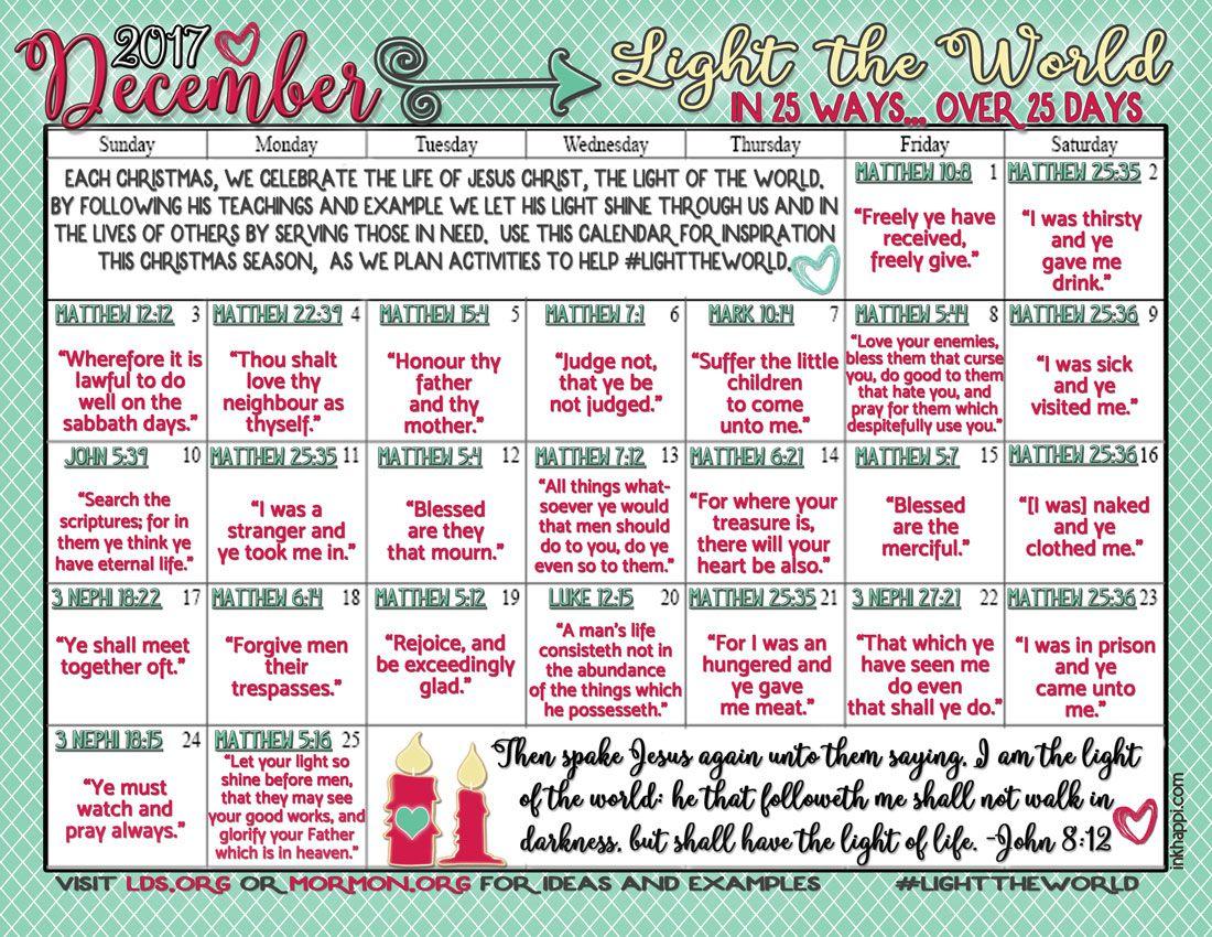 Light the World Christmas 2017 Free Printable Calendars | Relief ...