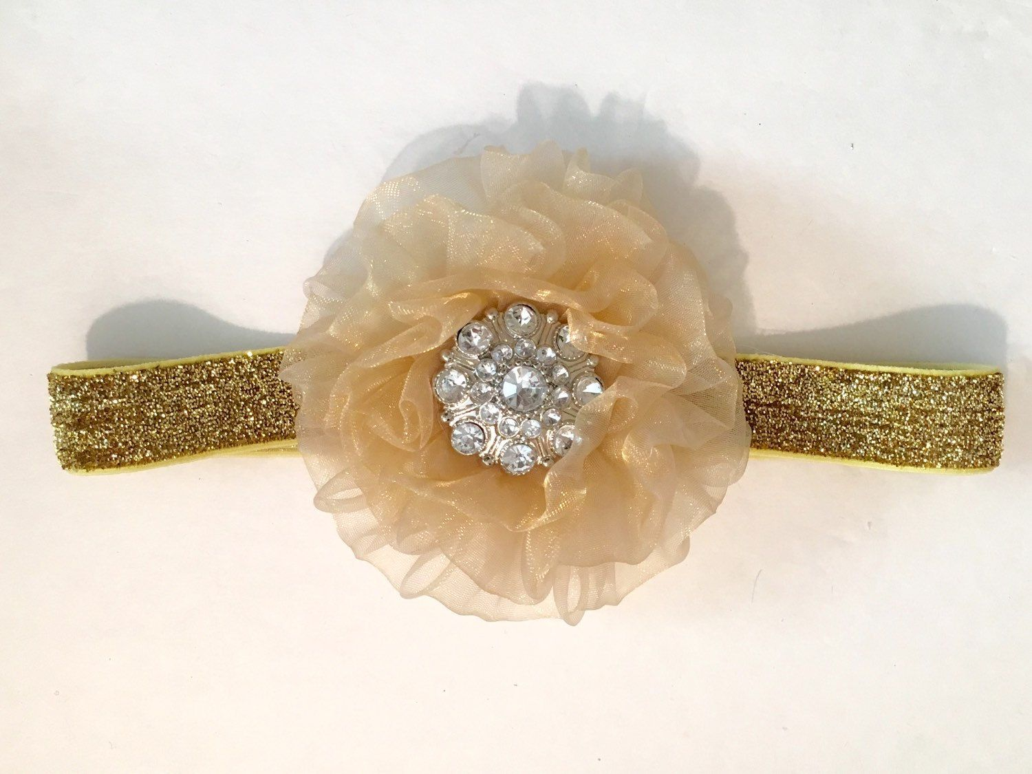 Dance Costume Hair Pieces! Gold Flower Rhinestone