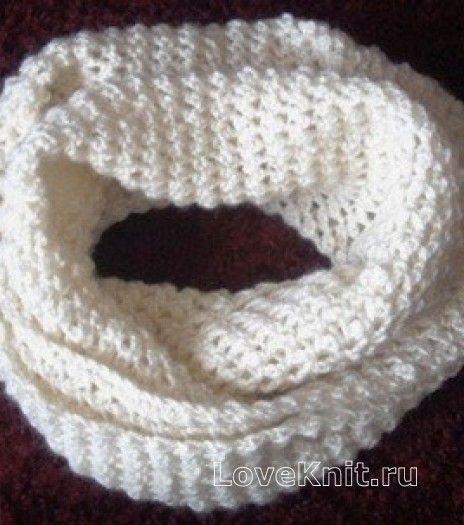 Белый шарф снуд раздел крючком