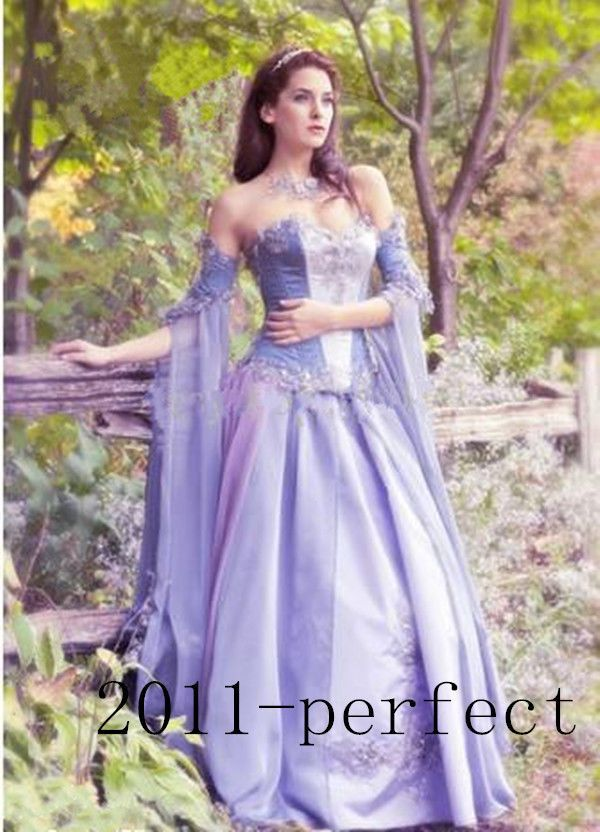 Medieval Wedding Dress LOTR Renaissance Fantasy Gown LARP Lavender ...