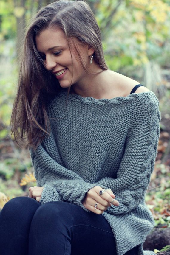 Photo of KNITTING PATTERN – River Braid Sweater – English Written Pattern for Cable Knit Sweater  – One Size – Direct Download PDF