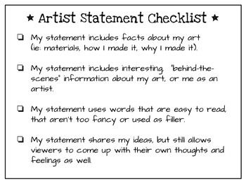 Elementary Art Guide How To Write Artist Statements  Elementary
