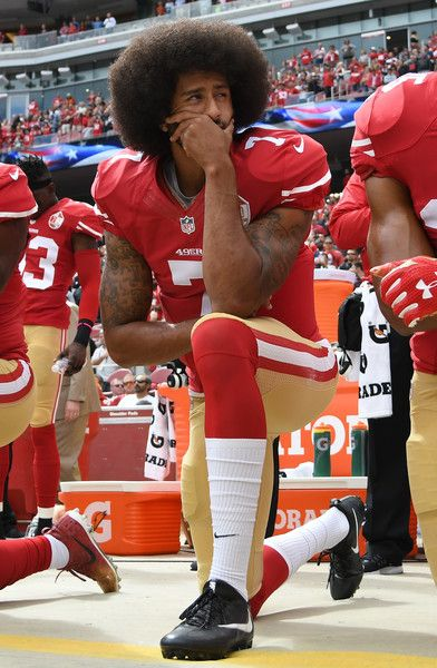 2205d77bf Colin Kaepernick #7 of the San Francisco 49ers kneels on the sideline  during the anthem prior to the game against the Dallas Cowboys at Levi's  Stadium on ...