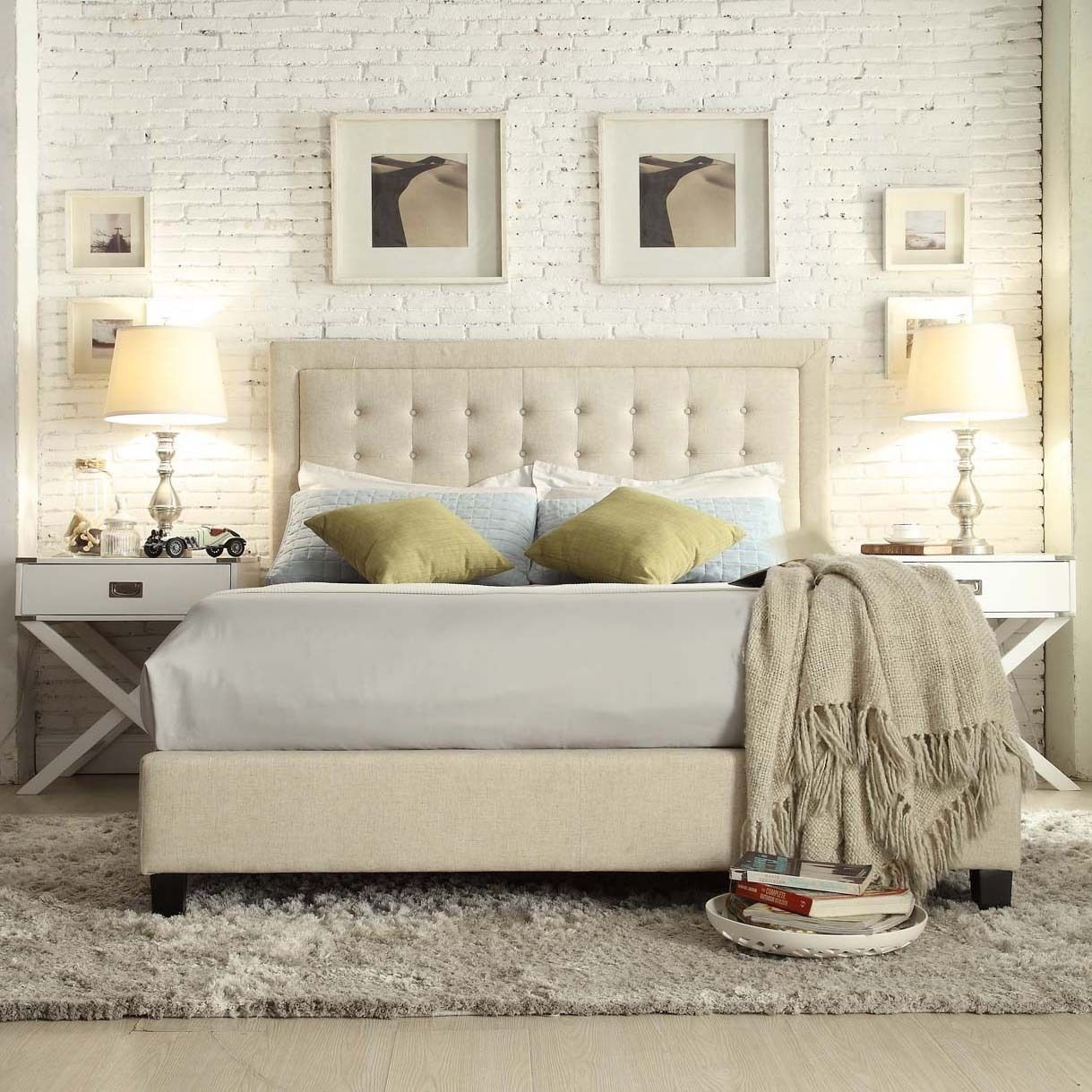 INSPIRE Q Bellevista Button-tufted Square Queen Upholstered Headboard