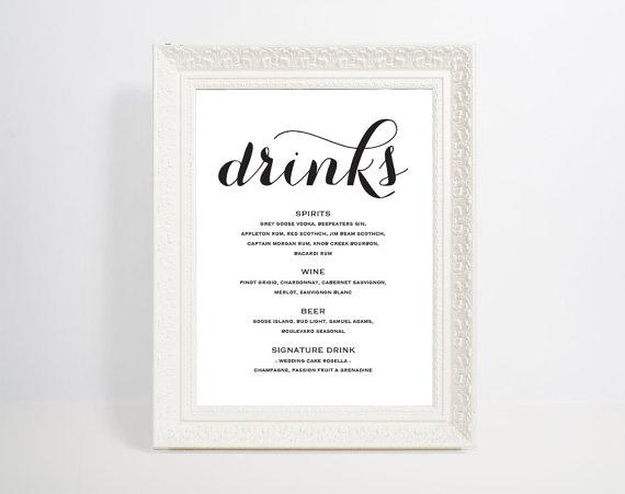 Bar Menu Template, Bar Menu, Bar Menu Printable, Bar Menu Wedding