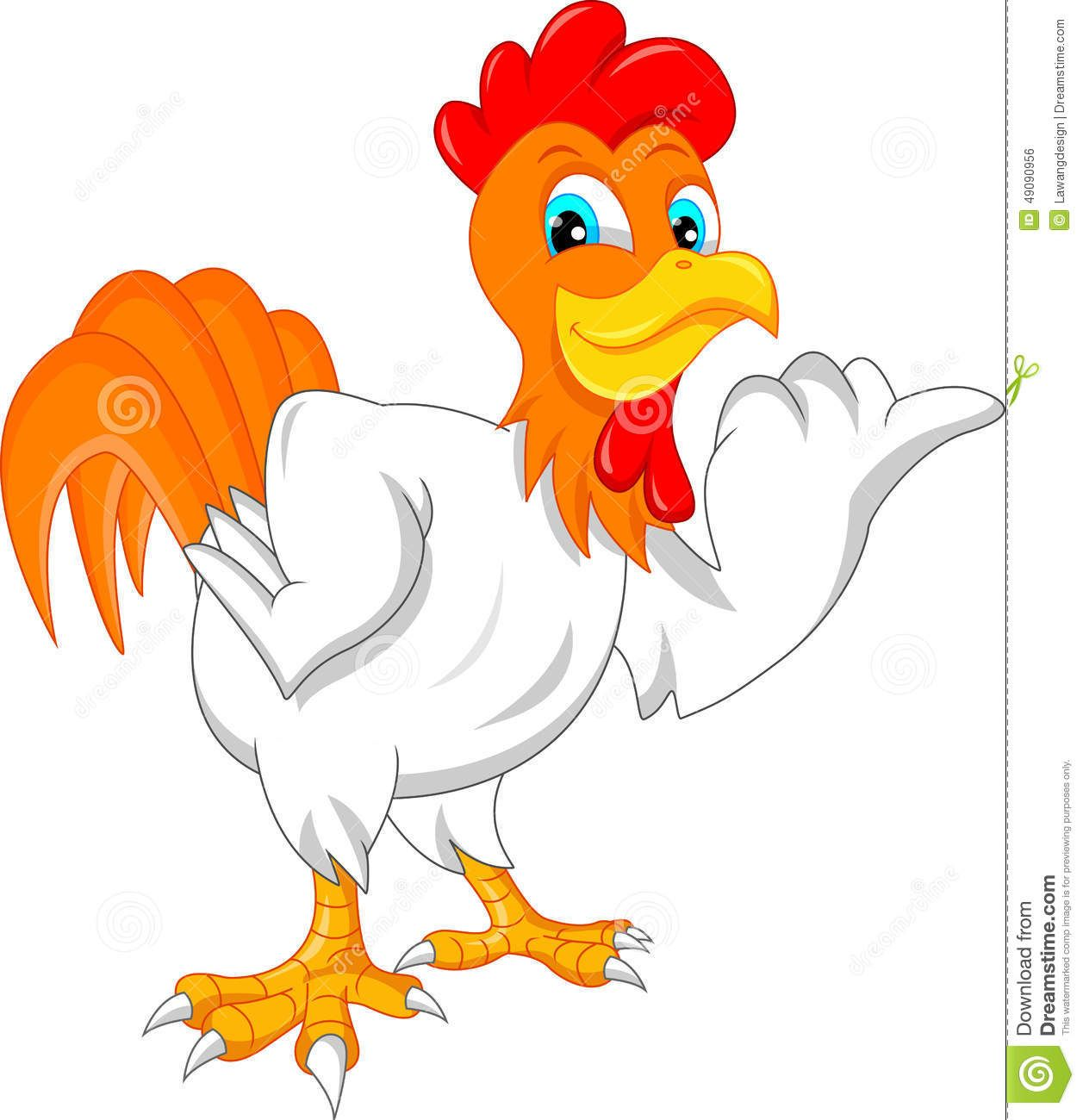 Cute Rooster Cartoon Stock Vector Image 49090956