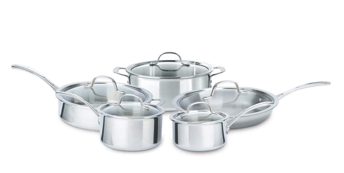 Calphalon 10 piece triply cookware set medium stainless